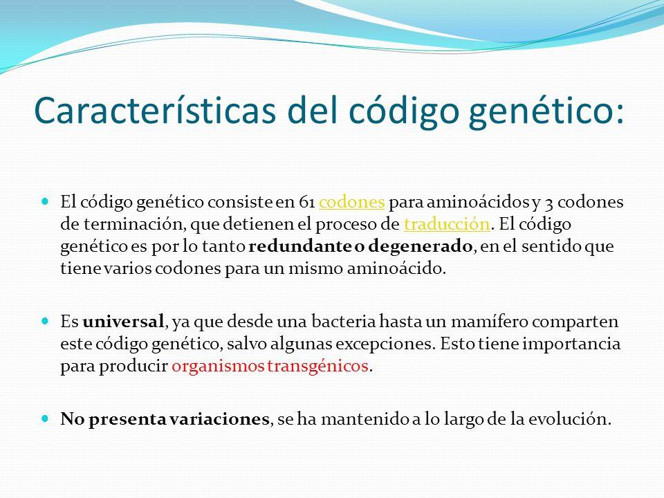 Características del código genético: