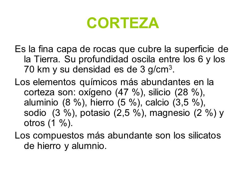 CORTEZA Es la fina capa de rocas que cubre la superficie de la Tierra. Su profundidad oscila entre los 6 y los 70 km y su densidad es de 3 g/cm3.