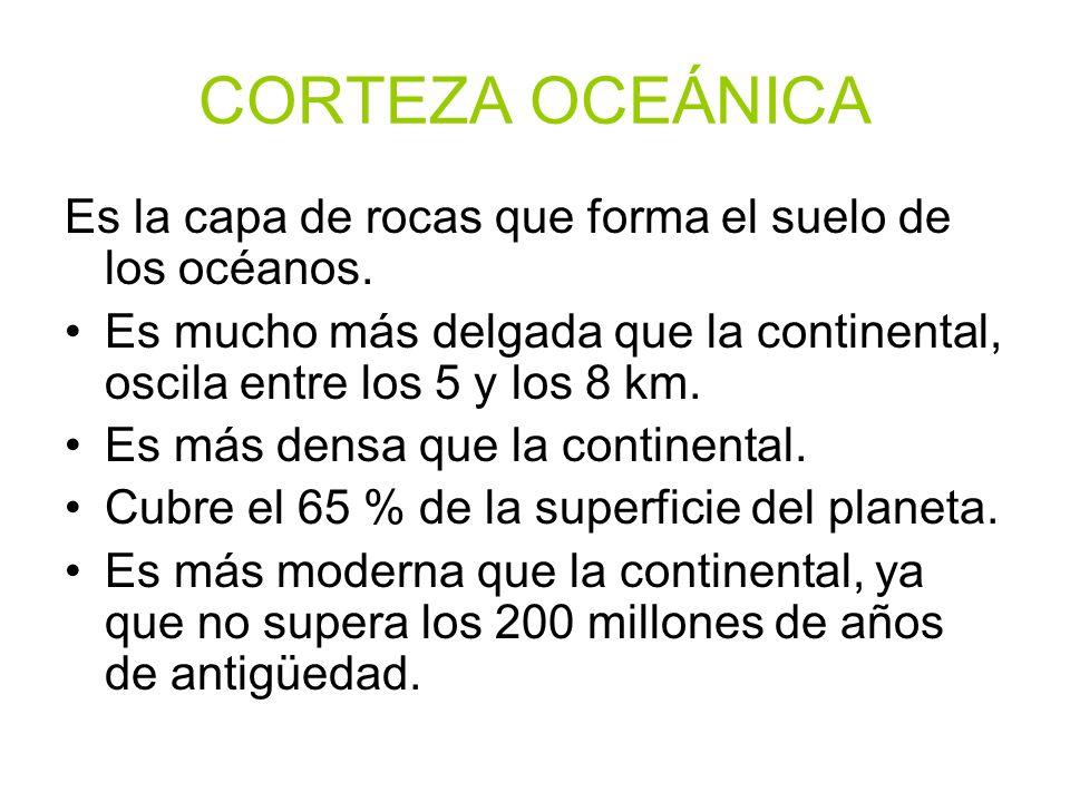 CORTEZA OCEÁNICAEs la capa de rocas que forma el suelo de los océanos. Es mucho más delgada que la continental, oscila entre los 5 y los 8 km.