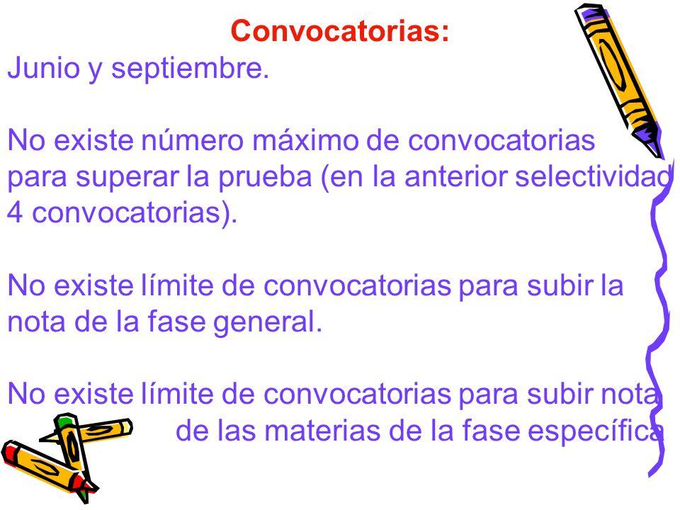 Convocatorias: Junio y septiembre. No existe número máximo de convocatorias. para superar la prueba (en la anterior selectividad 4 convocatorias).