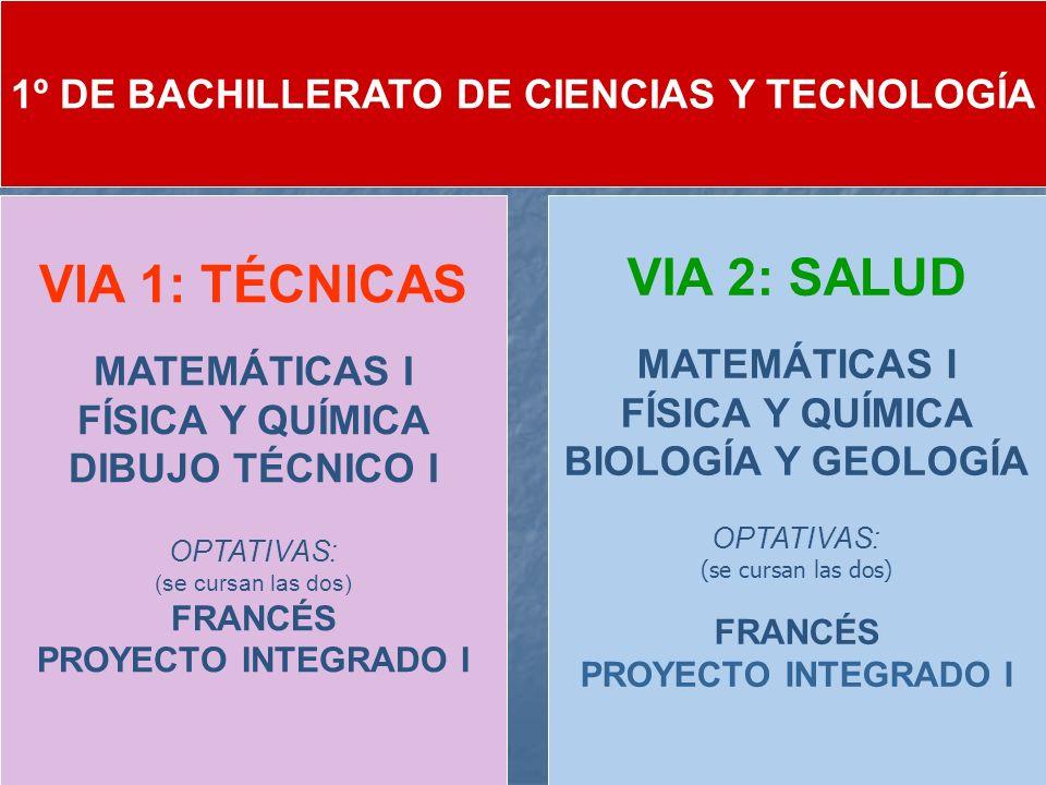 1º DE BACHILLERATO DE CIENCIAS Y TECNOLOGÍA