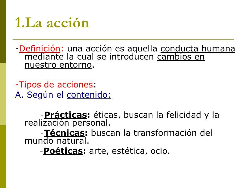 1.La acción-Definición: una acción es aquella conducta humana mediante la cual se introducen cambios en nuestro entorno.