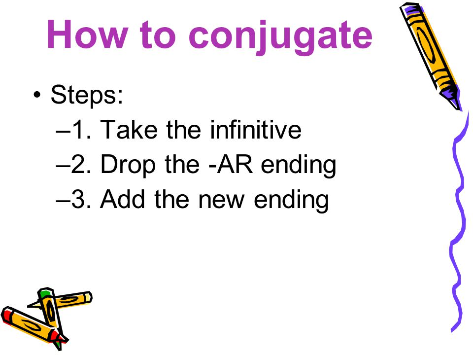 How to conjugate Steps: 1. Take the infinitive 2. Drop the -AR ending