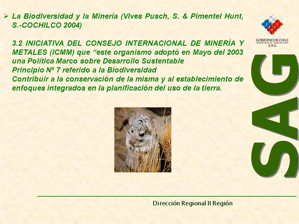 SAG Dirección Regional II Región. La Biodiversidad y la Minería (Vives Pusch, S. & Pimentel Hunt, S.-COCHILCO 2004)