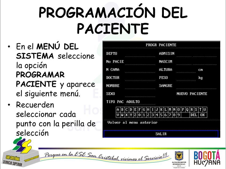 PROGRAMACIÓN DEL PACIENTE