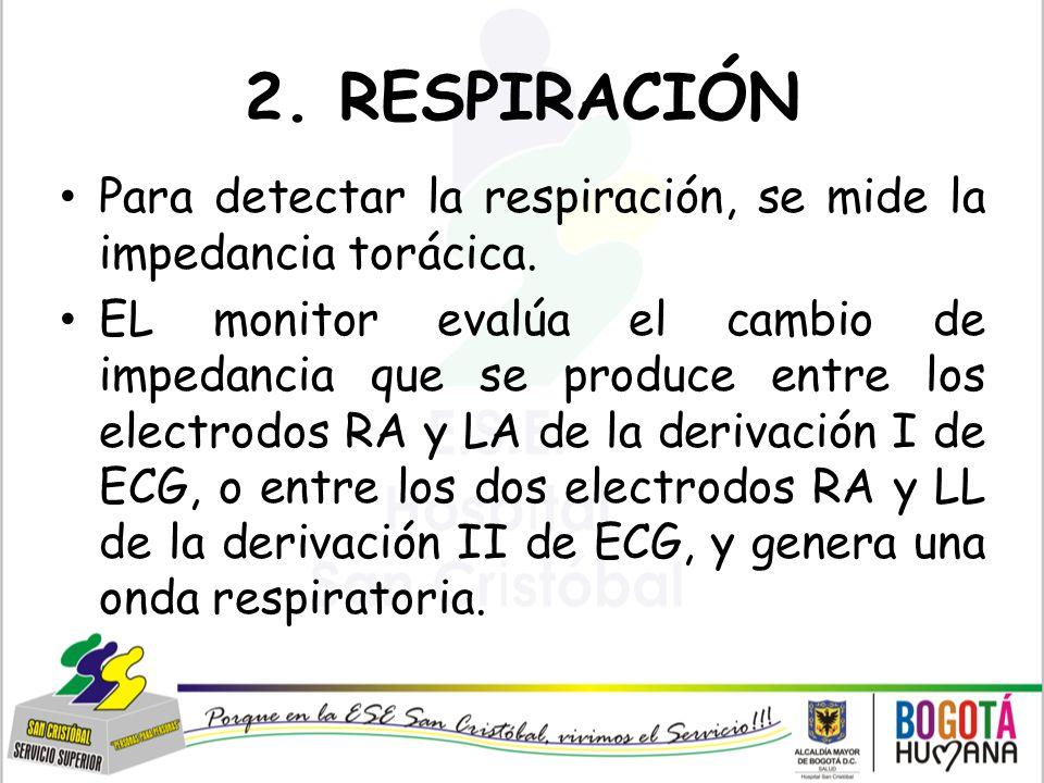 2. RESPIRACIÓN Para detectar la respiración, se mide la impedancia torácica.