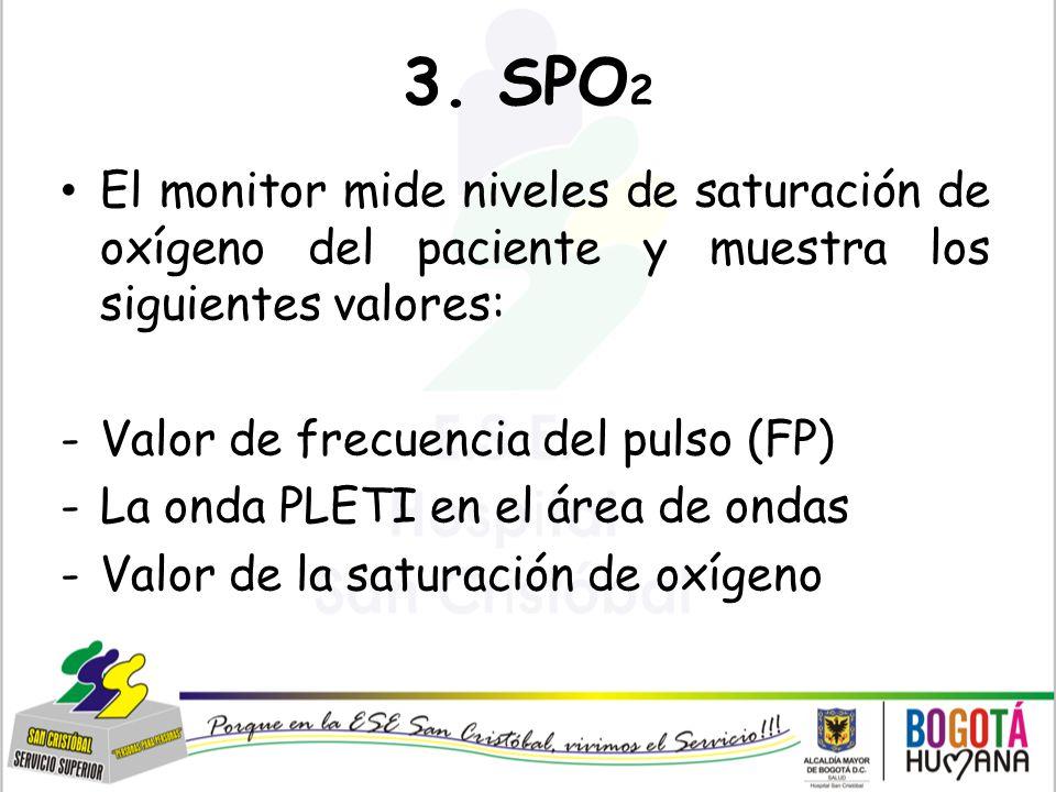 3. SPO2 El monitor mide niveles de saturación de oxígeno del paciente y muestra los siguientes valores: