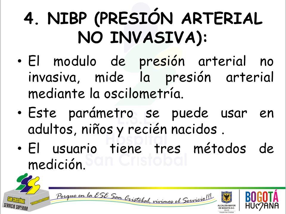 4. NIBP (PRESIÓN ARTERIAL NO INVASIVA):