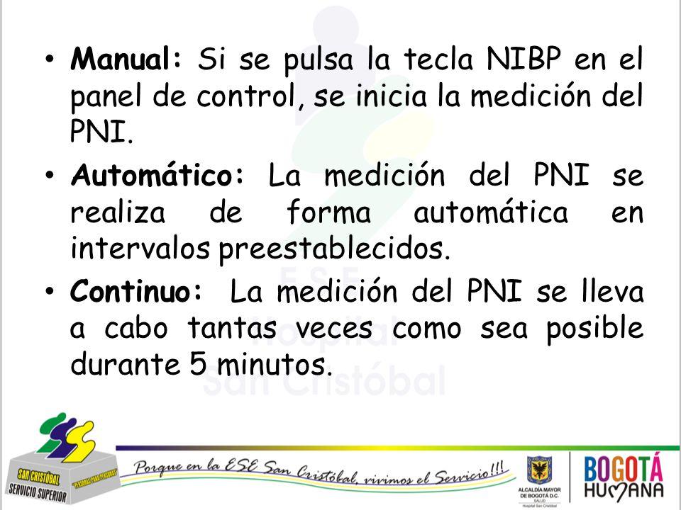 Manual: Si se pulsa la tecla NIBP en el panel de control, se inicia la medición del PNI.
