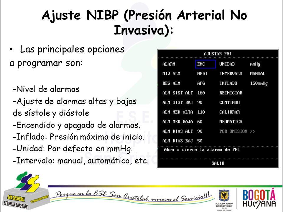 Ajuste NIBP (Presión Arterial No Invasiva):