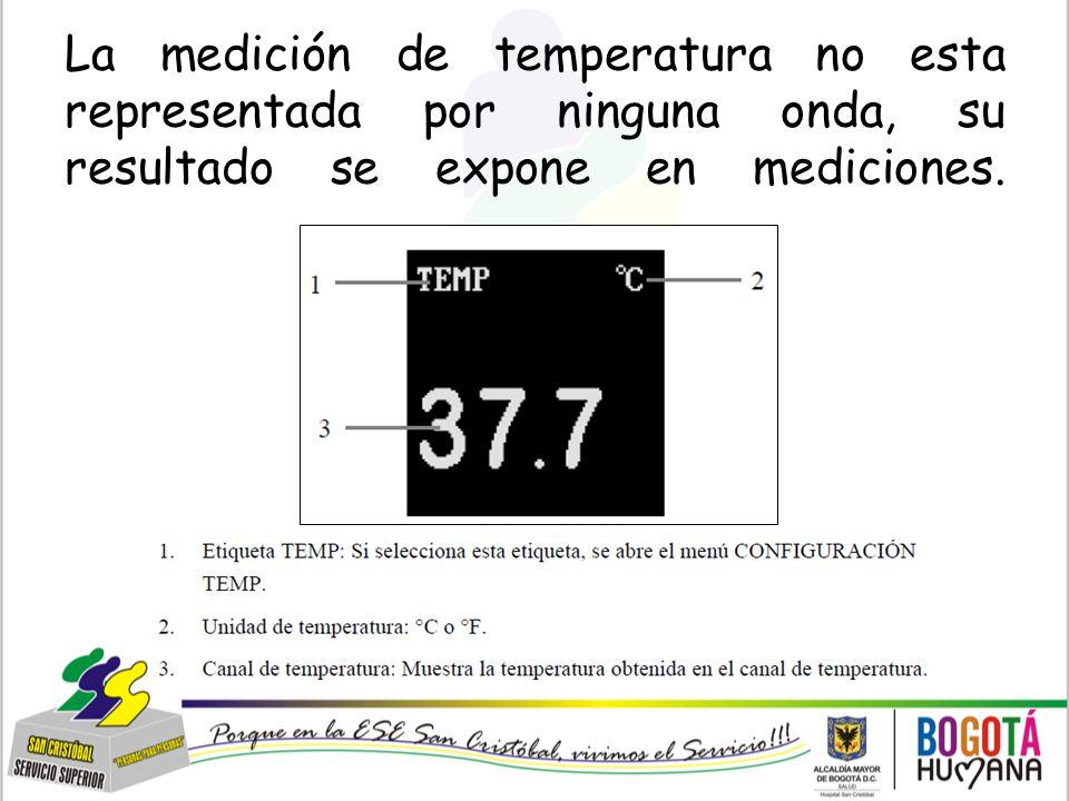 La medición de temperatura no esta representada por ninguna onda, su resultado se expone en mediciones.