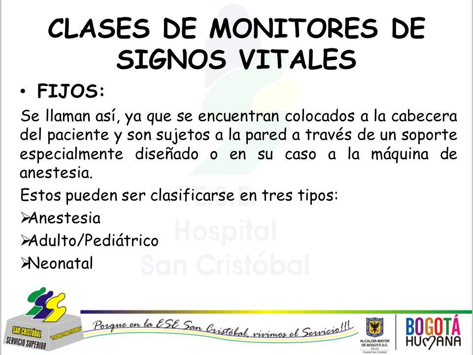 CLASES DE MONITORES DE SIGNOS VITALES
