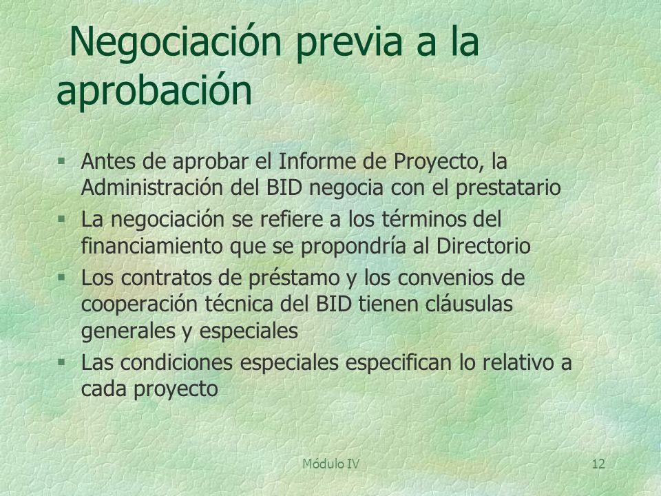 Negociación previa a la aprobación