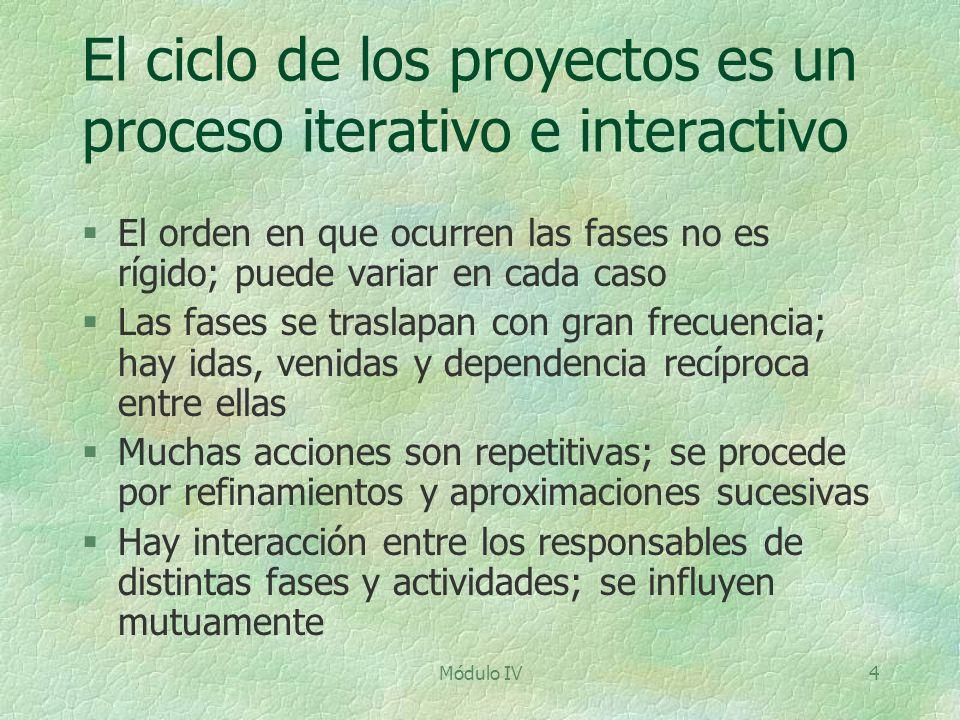 El ciclo de los proyectos es un proceso iterativo e interactivo