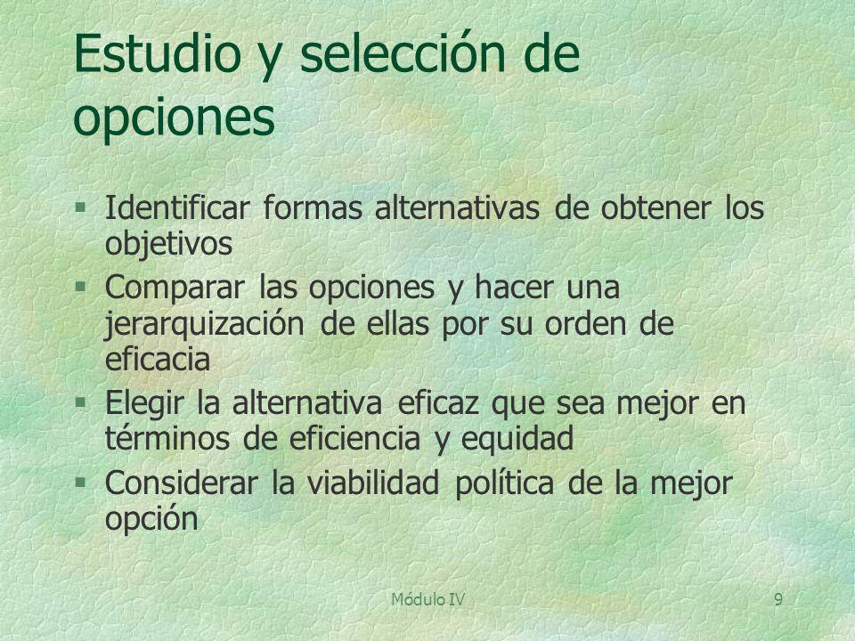 Estudio y selección de opciones