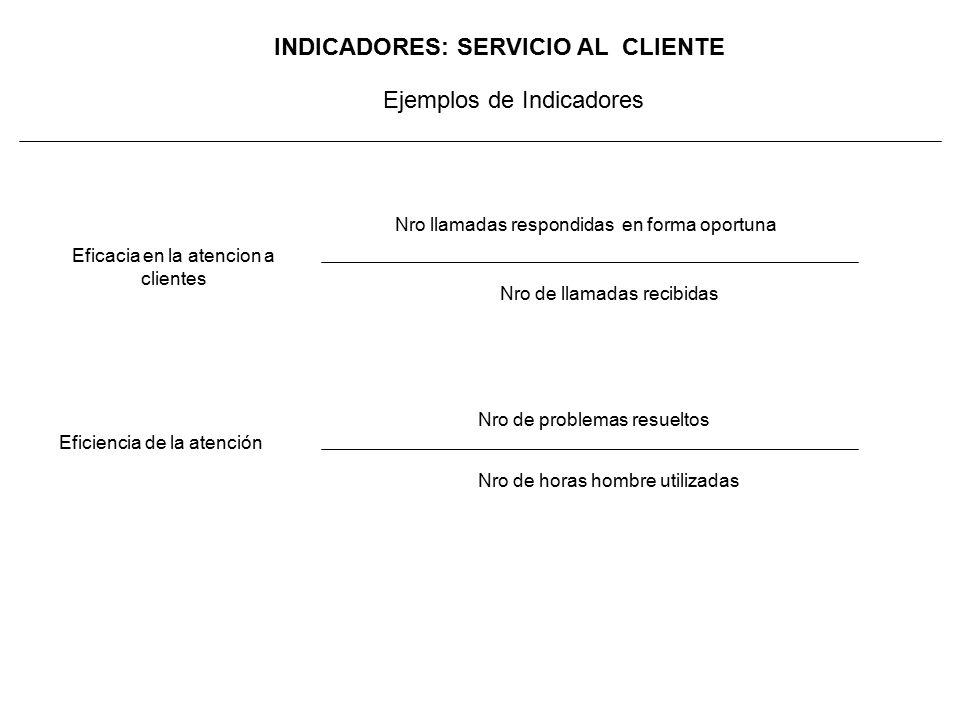 INDICADORES: SERVICIO AL CLIENTE