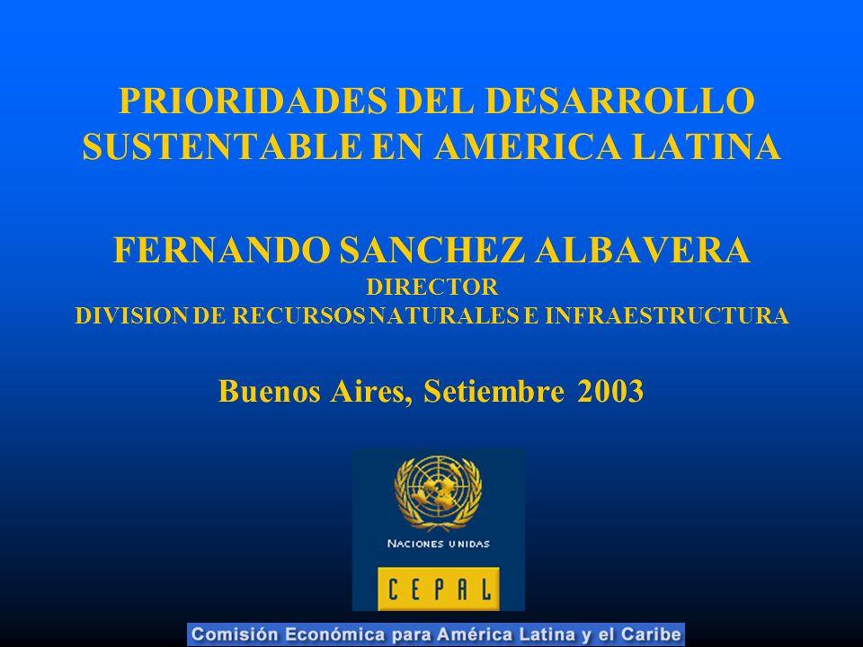 PRIORIDADES DEL DESARROLLO SUSTENTABLE EN AMERICA LATINA FERNANDO SANCHEZ ALBAVERA DIRECTOR DIVISION DE RECURSOS NATURALES E INFRAESTRUCTURA Buenos Aires, Setiembre 2003