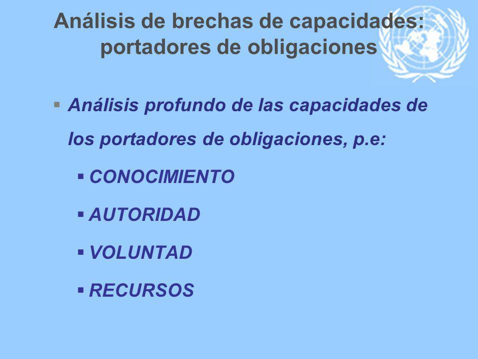 Análisis de brechas de capacidades: portadores de obligaciones