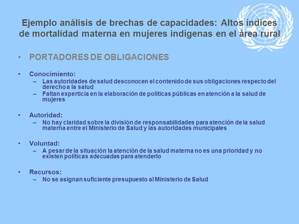 Ejemplo análisis de brechas de capacidades: Altos índices de mortalidad materna en mujeres indígenas en el área rural