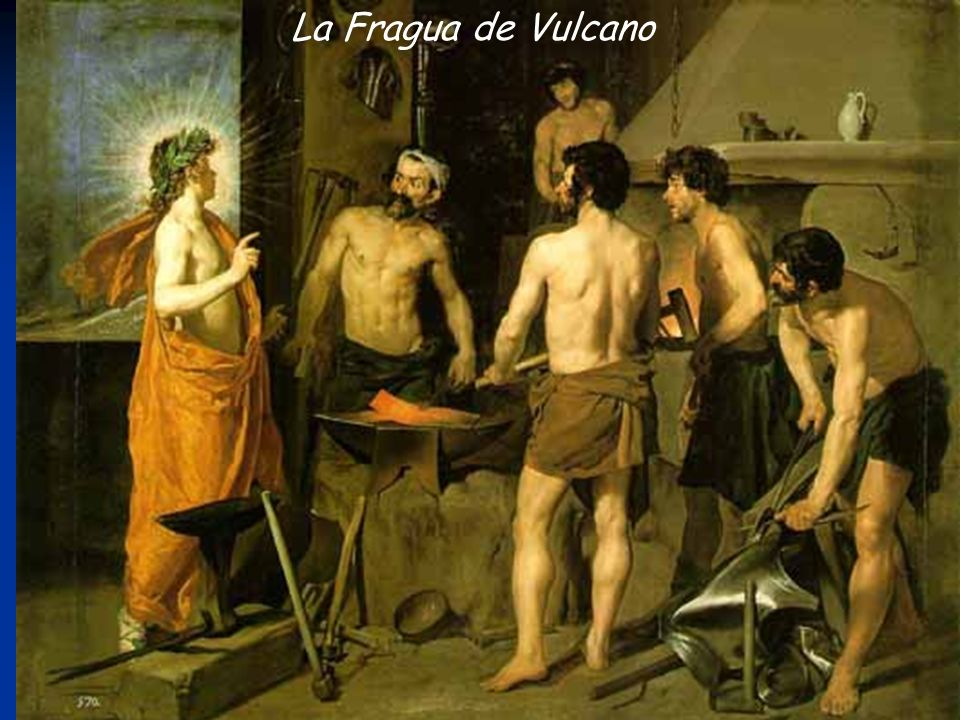 La Fragua de Vulcano -Apolo (a la izquierda) le dice a Vulcan que su esposa, Venus, fue infiel ( durmió con Marte)