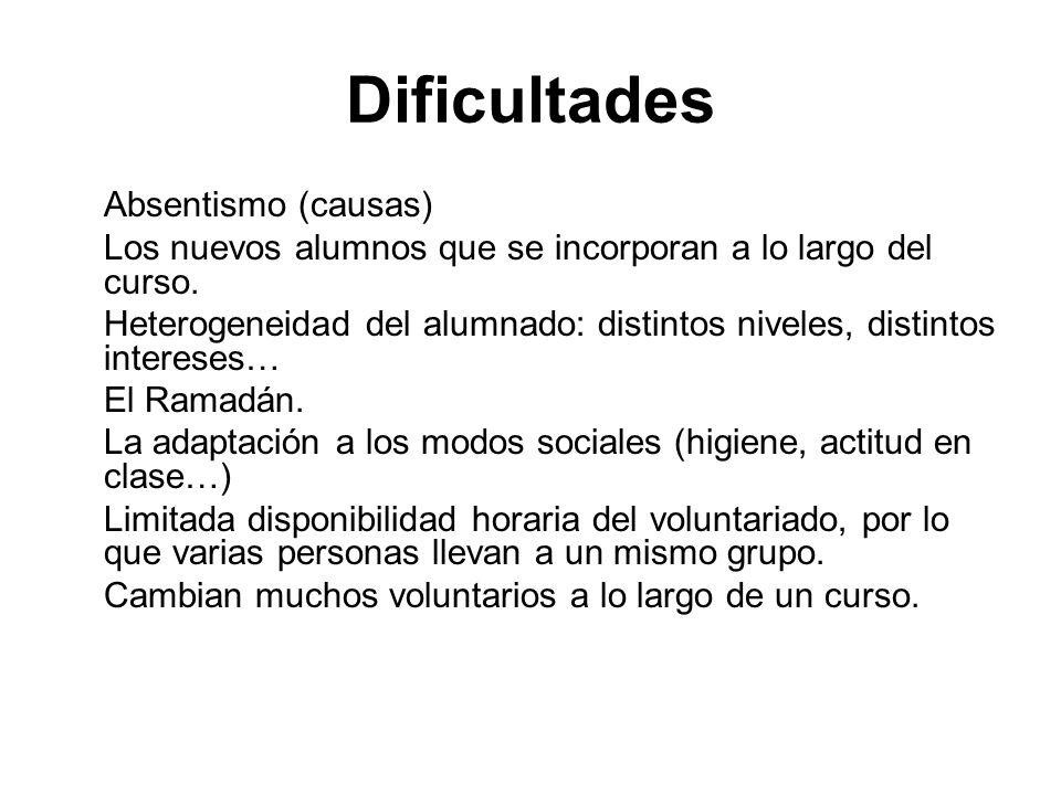 Dificultades Absentismo (causas) Los nuevos alumnos que se incorporan a lo largo del curso.