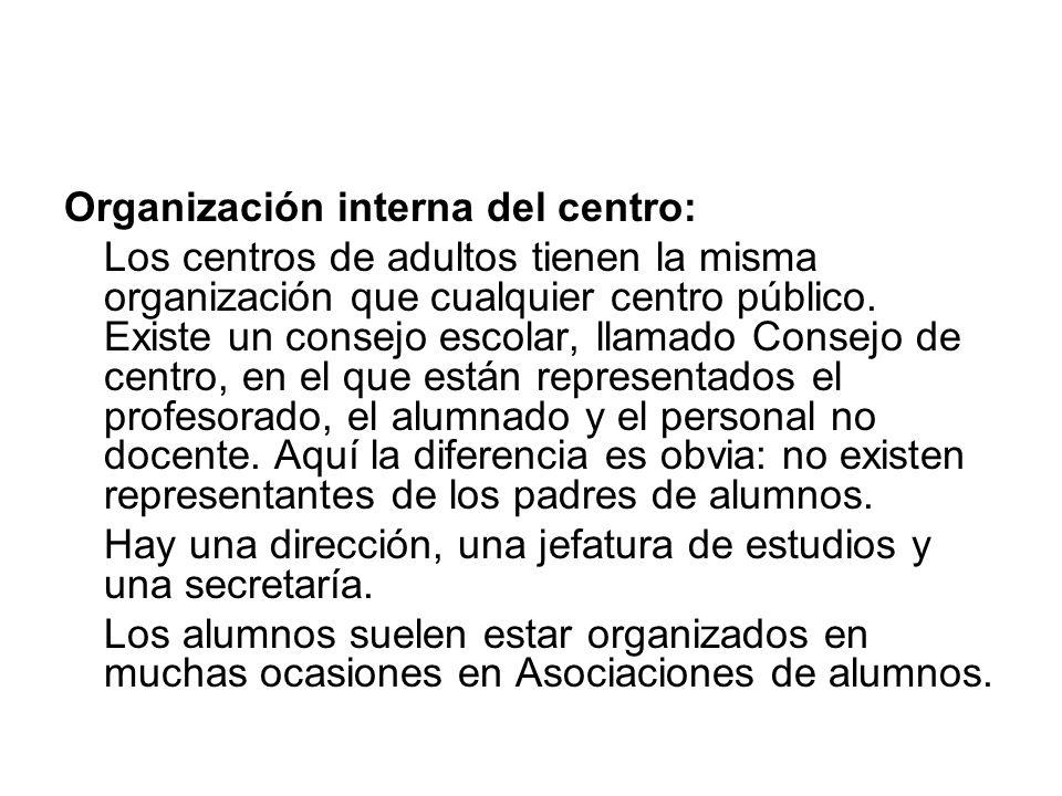 Organización interna del centro: