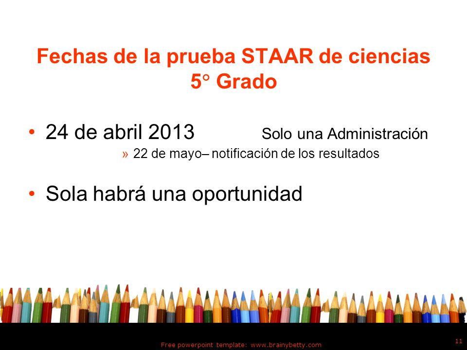 Fechas de la prueba STAAR de ciencias 5 Grado