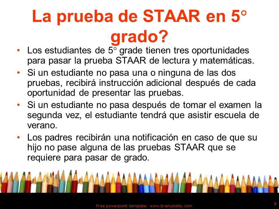 La prueba de STAAR en 5 grado