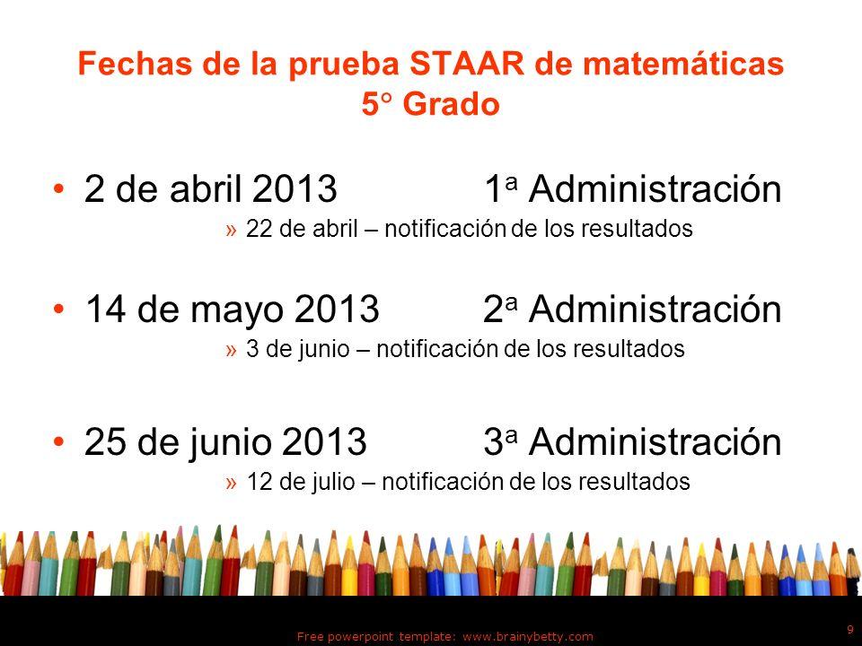 Fechas de la prueba STAAR de matemáticas 5 Grado