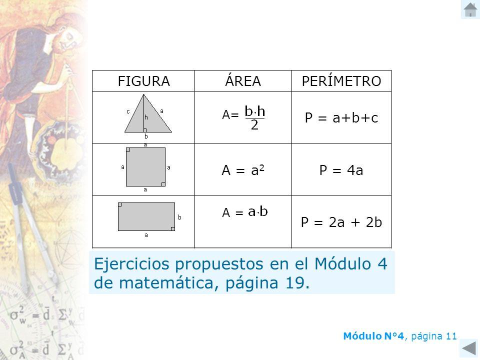 Ejercicios propuestos en el Módulo 4 de matemática, página 19.