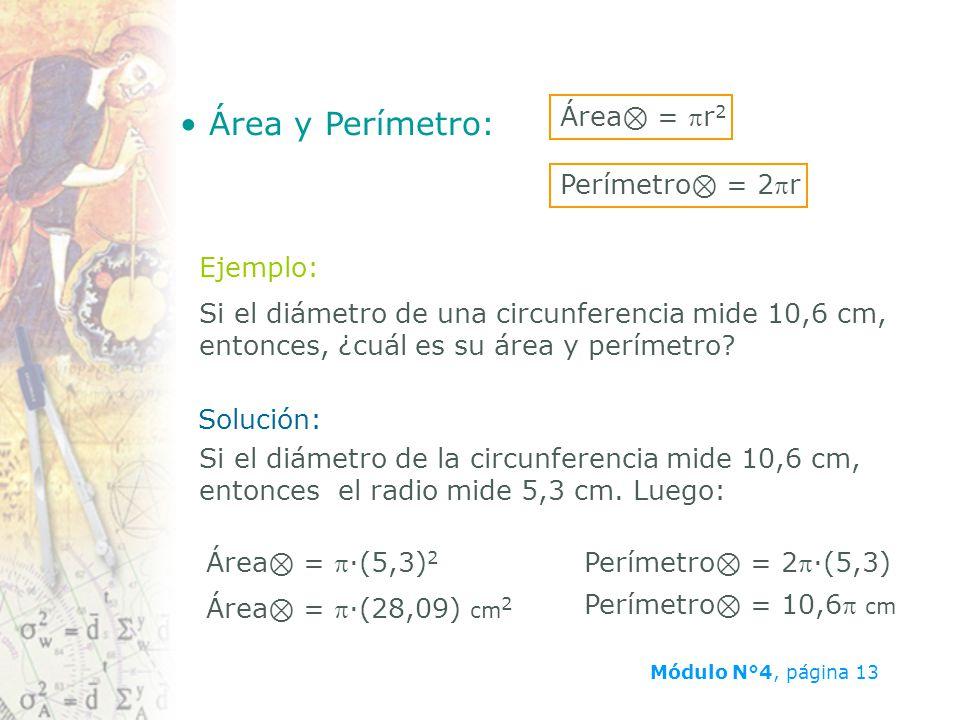 Área y Perímetro: Área⊗ = pr2 Perímetro⊗ = 2pr Ejemplo: