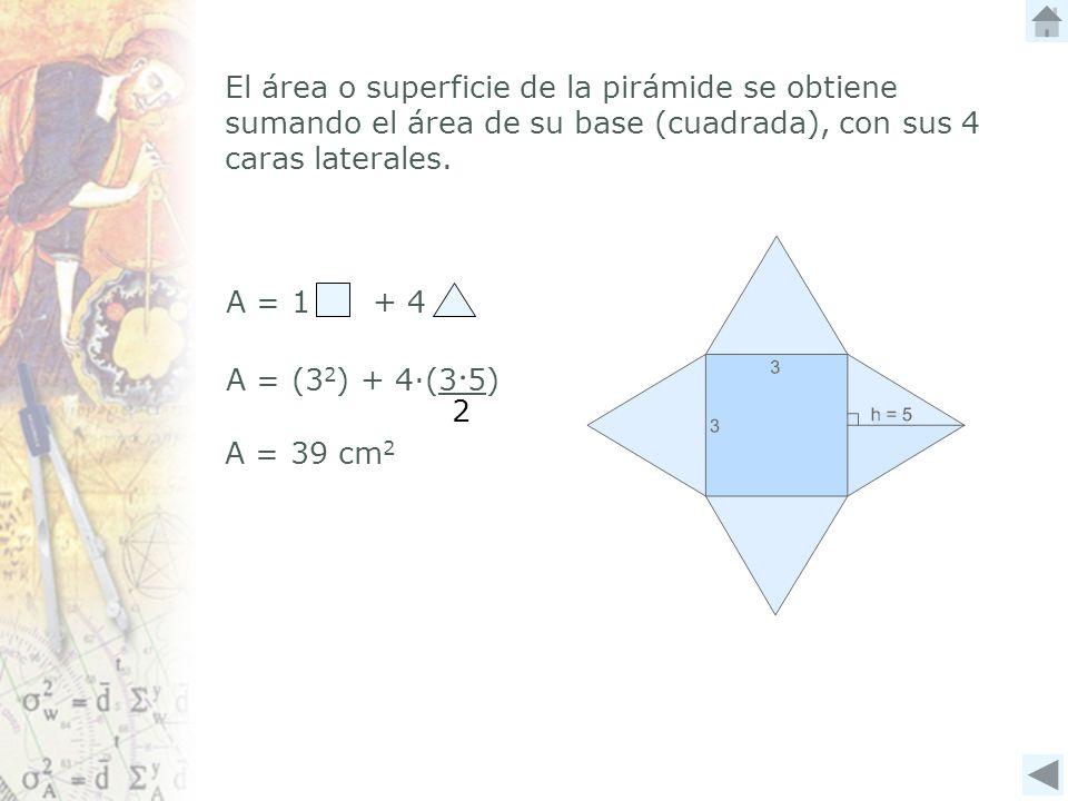 El área o superficie de la pirámide se obtiene sumando el área de su base (cuadrada), con sus 4 caras laterales.