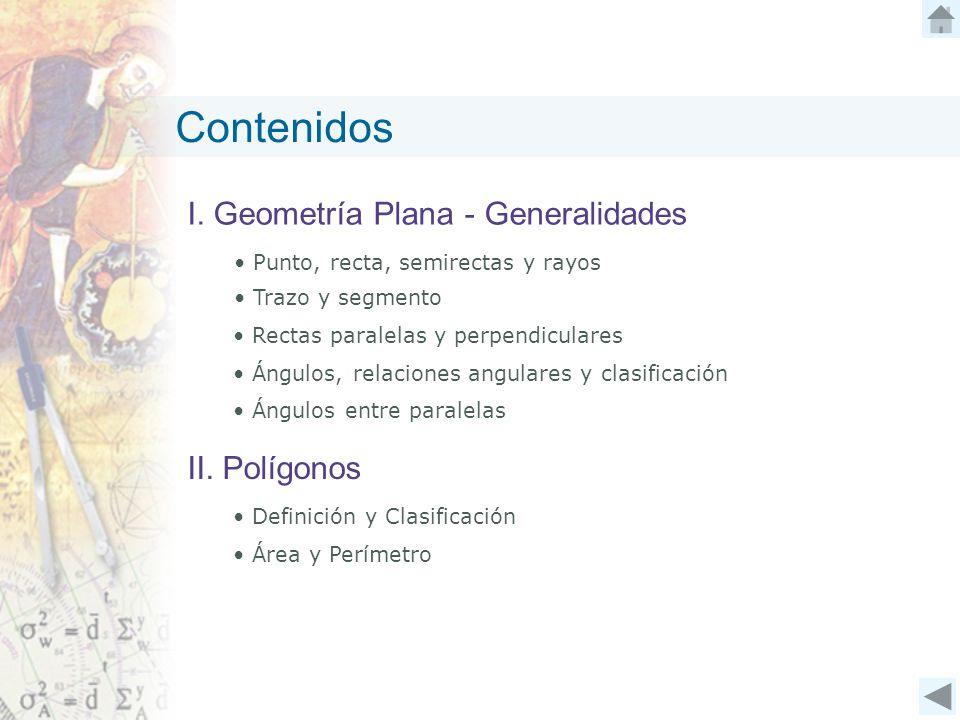 Contenidos I. Geometría Plana - Generalidades II. Polígonos