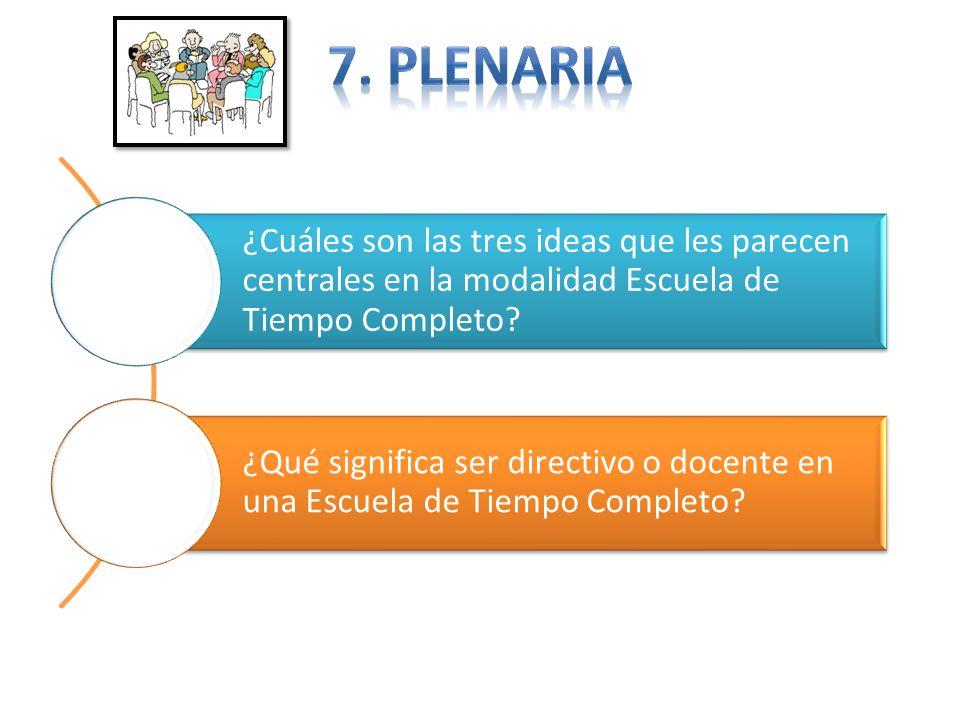 7. Plenaria ¿Cuáles son las tres ideas que les parecen centrales en la modalidad Escuela de Tiempo Completo