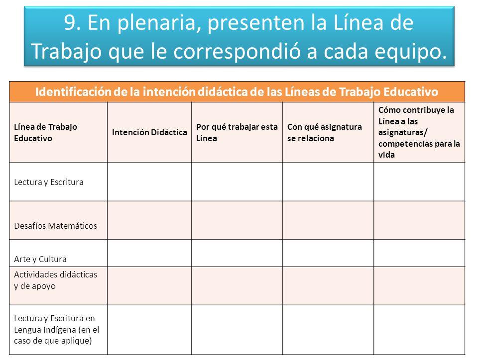 9. En plenaria, presenten la Línea de Trabajo que le correspondió a cada equipo.