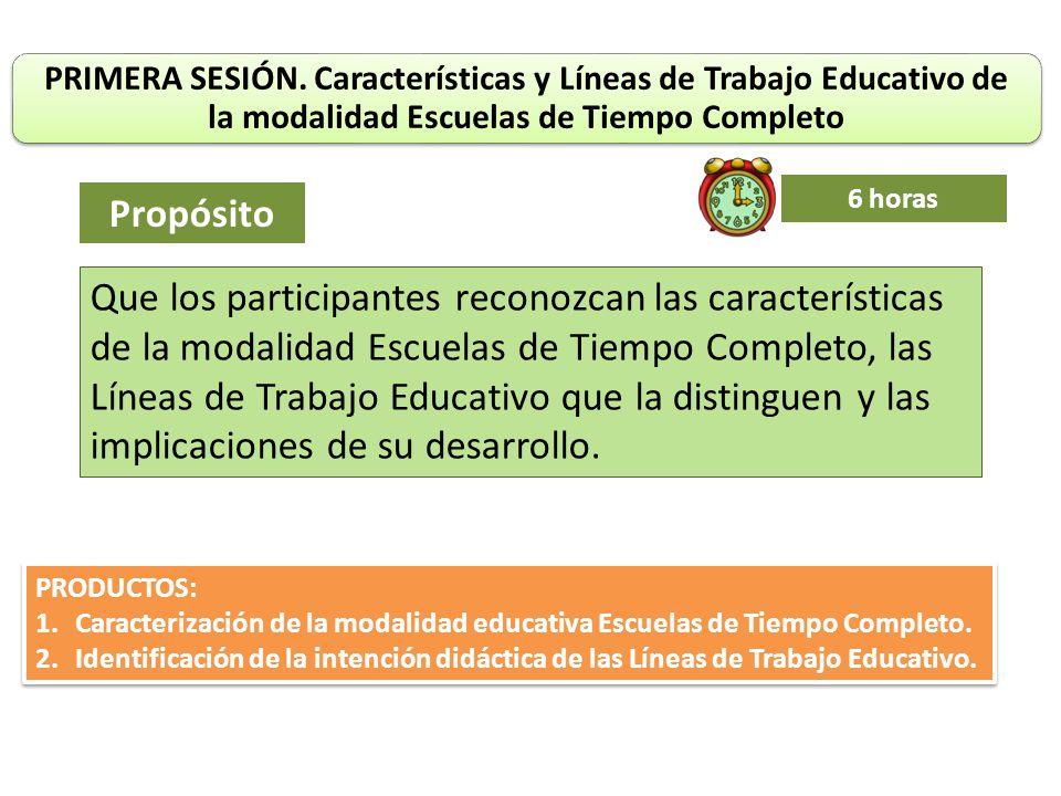 PRIMERA SESIÓN. Características y Líneas de Trabajo Educativo de la modalidad Escuelas de Tiempo Completo