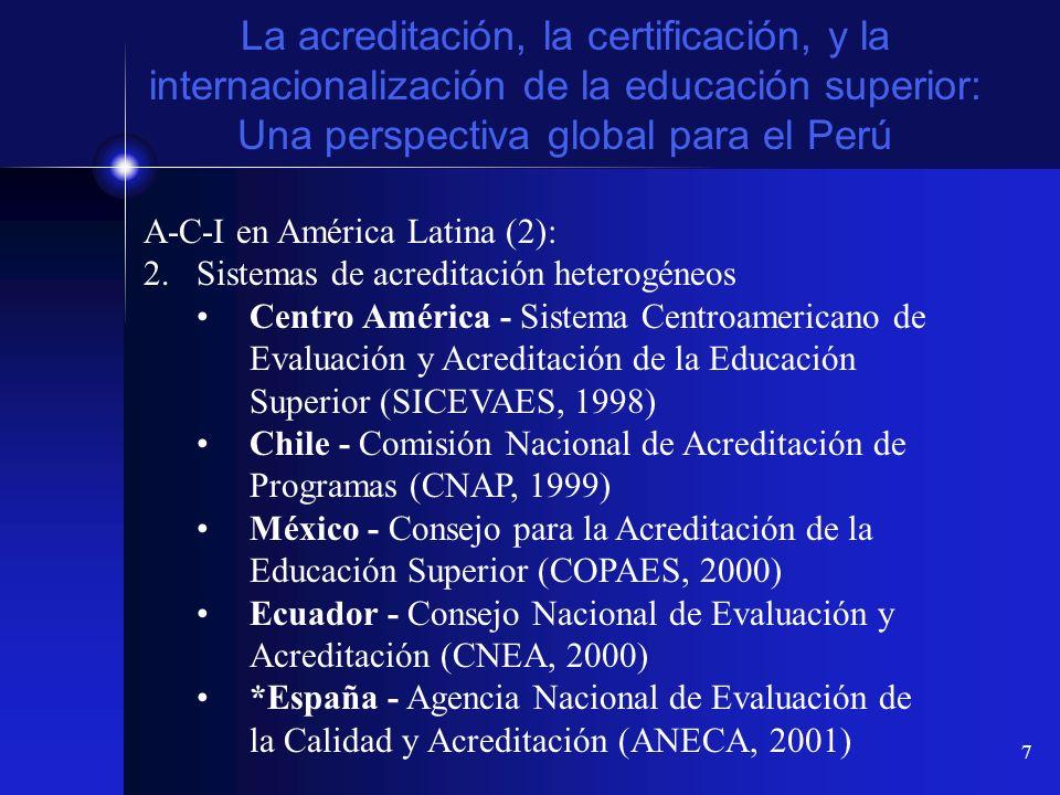 La acreditación, la certificación, y la internacionalización de la educación superior: Una perspectiva global para el Perú