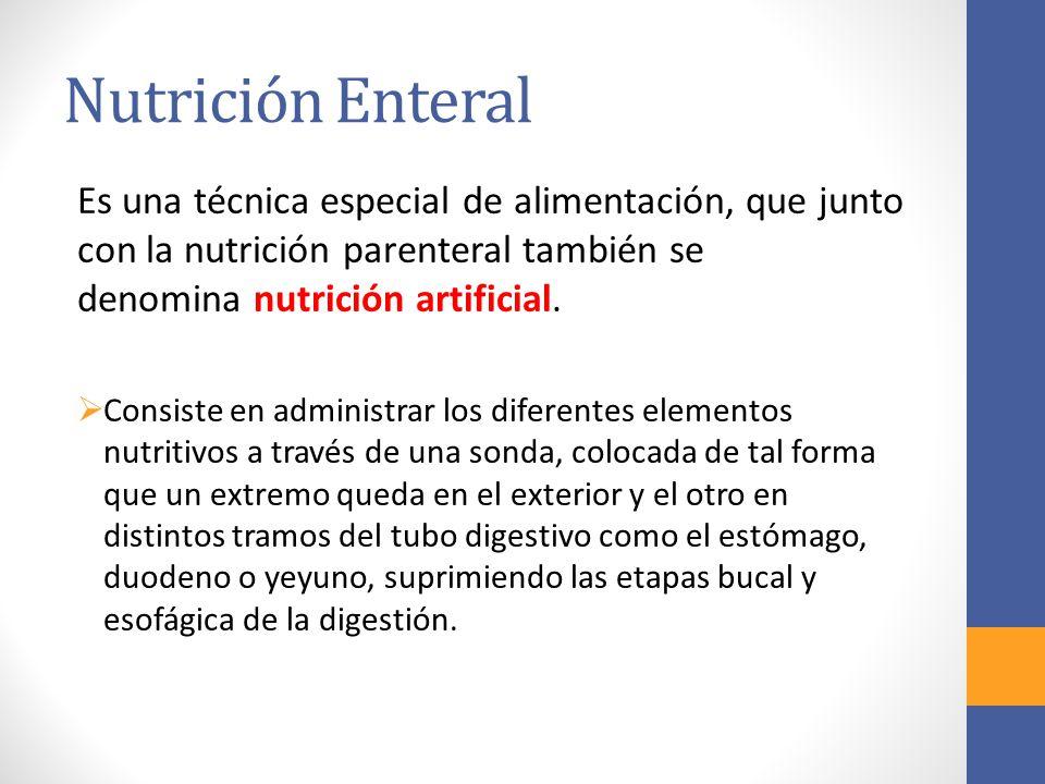 Nutrición Enteral Es una técnica especial de alimentación, que junto con la nutrición parenteral también se denomina nutrición artificial.