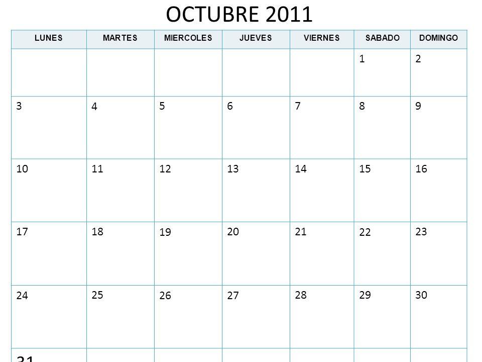OCTUBRE 2011LUNES. MARTES. MIERCOLES. JUEVES. VIERNES. SABADO. DOMINGO. 1. 2. 3. 4. 5. 6. 7. 8. 9. 10.