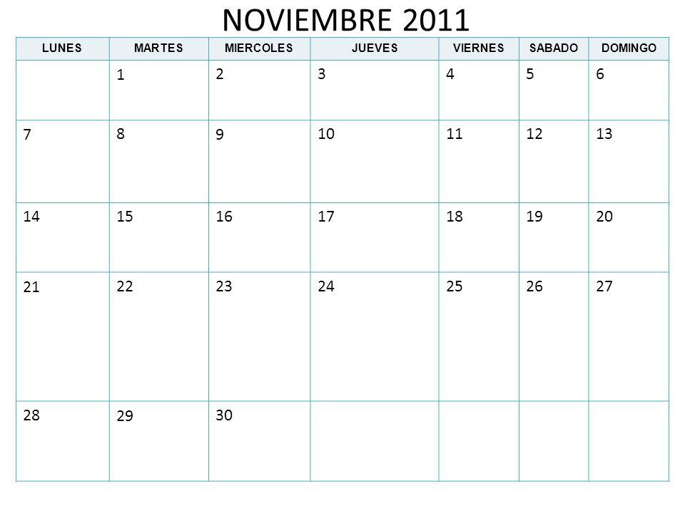 NOVIEMBRE 2011 LUNES. MARTES. MIERCOLES. JUEVES. VIERNES. SABADO. DOMINGO. 1. 2. 3. 4. 5.