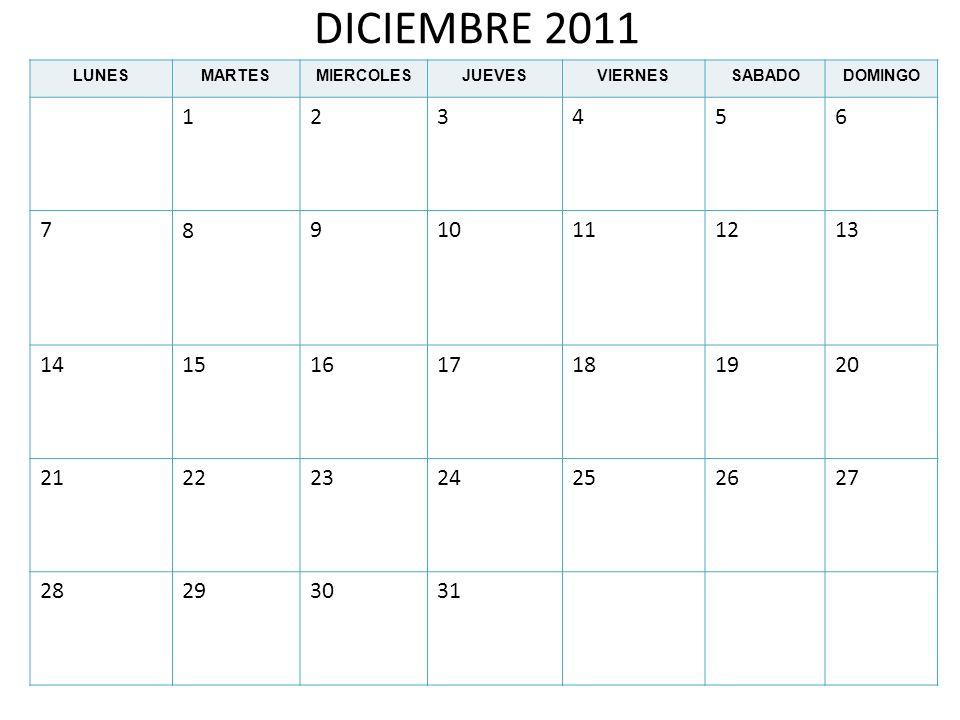 DICIEMBRE 2011LUNES. MARTES. MIERCOLES. JUEVES. VIERNES. SABADO. DOMINGO. 1. 2. 3. 4. 5. 6. 7. 8. 9.