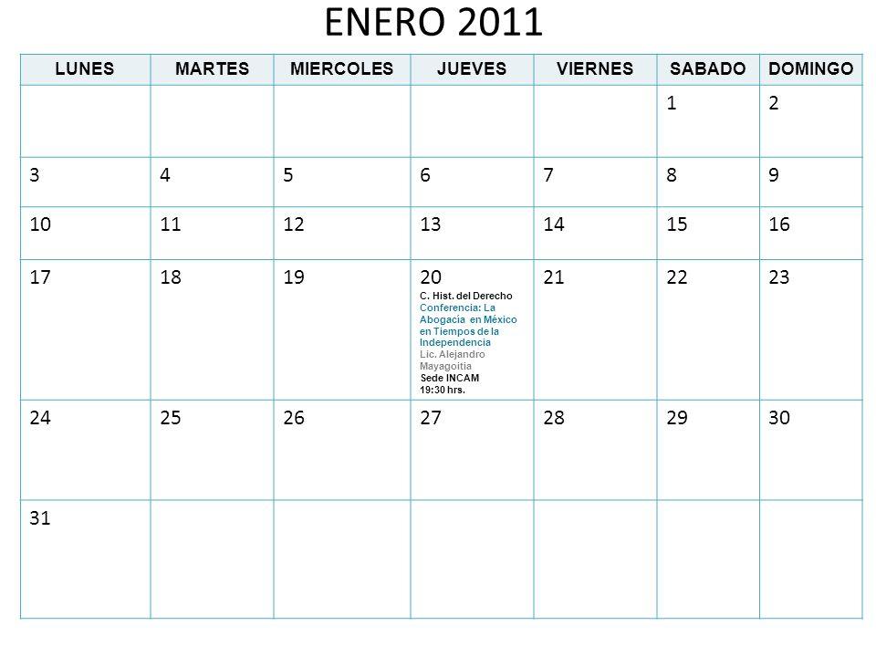 ENERO 2011LUNES. MARTES. MIERCOLES. JUEVES. VIERNES. SABADO. DOMINGO. 1. 2. 3. 4. 5. 6. 7. 8. 9. 10.
