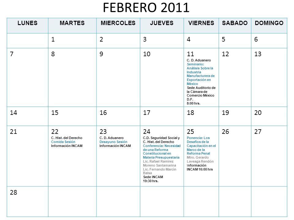 FEBRERO 2011 LUNES. MARTES. MIERCOLES. JUEVES. VIERNES. SABADO. DOMINGO. 1. 2. 3. 4. 5. 6.