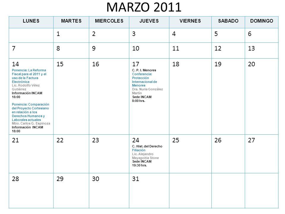 MARZO 2011 LUNES. MARTES. MIERCOLES. JUEVES. VIERNES. SABADO. DOMINGO. 1. 2. 3. 4. 5. 6.