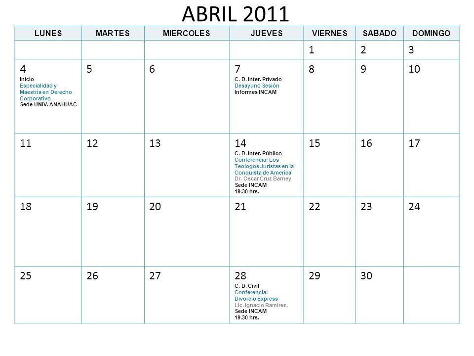 ABRIL 2011LUNES. MARTES. MIERCOLES. JUEVES. VIERNES. SABADO. DOMINGO. 1. 2. 3. 4. Inicio. Especialidad y Maestría en Derecho Corporativo.