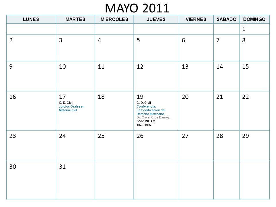 MAYO 2011 LUNES. MARTES. MIERCOLES. JUEVES. VIERNES. SABADO. DOMINGO. 1. 2. 3. 4. 5. 6.