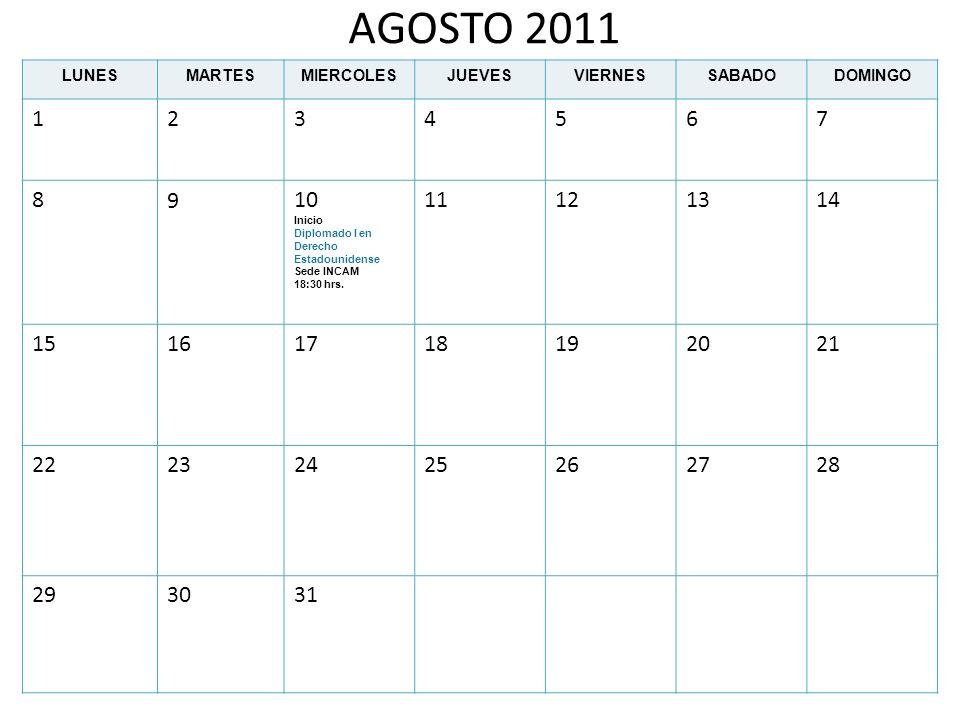 AGOSTO 2011 LUNES. MARTES. MIERCOLES. JUEVES. VIERNES. SABADO. DOMINGO. 1. 2. 3. 4. 5. 6.