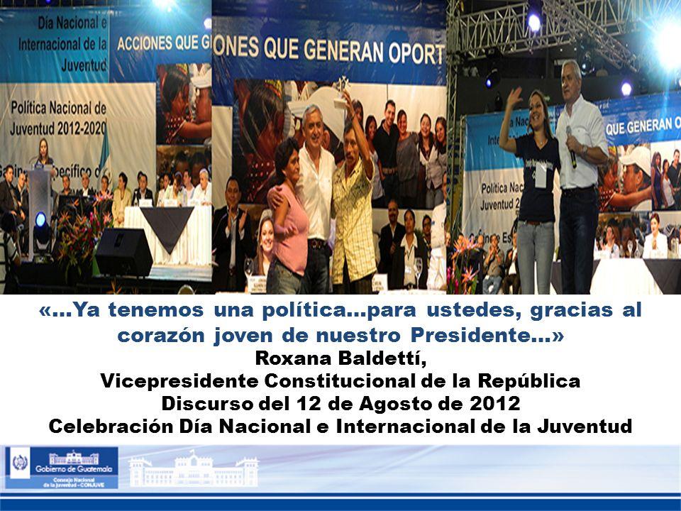 «…Ya tenemos una política…para ustedes, gracias al corazón joven de nuestro Presidente…»