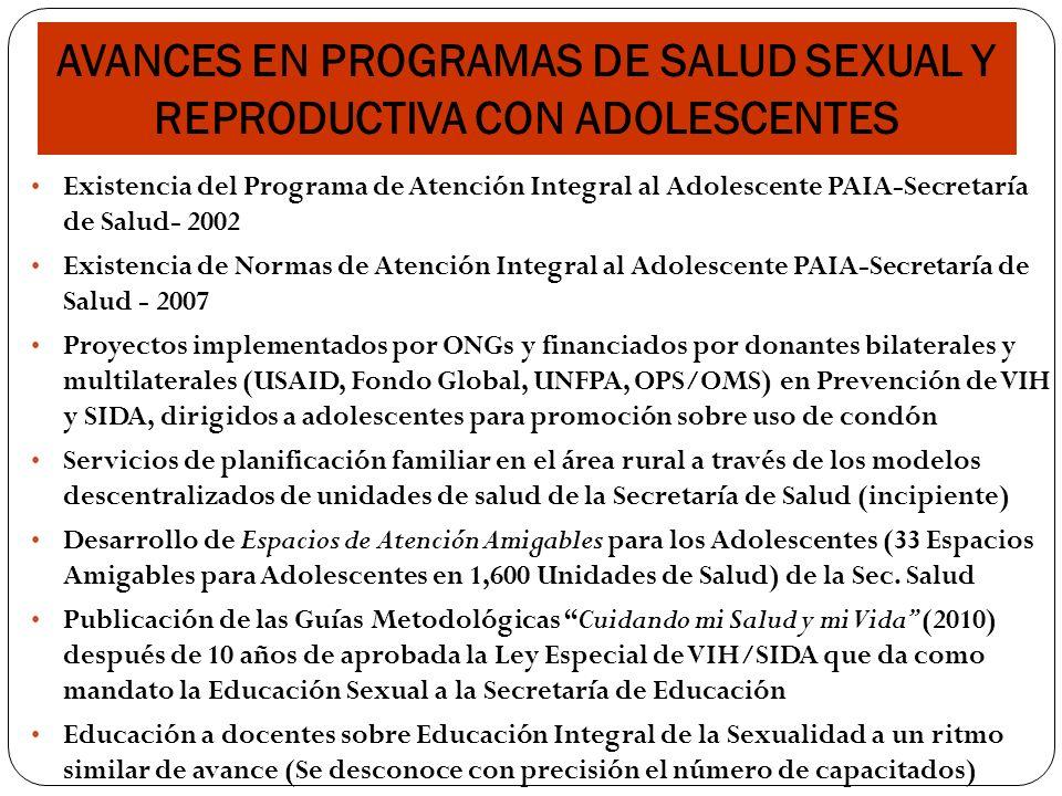 AVANCES EN PROGRAMAS DE SALUD SEXUAL Y REPRODUCTIVA CON ADOLESCENTES
