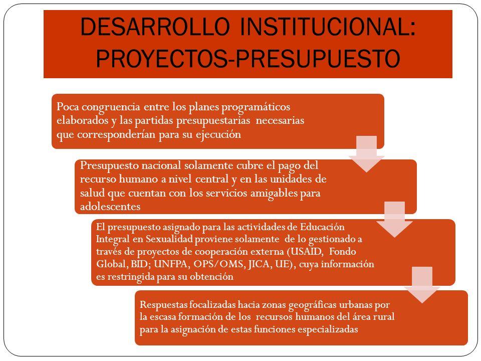 DESARROLLO INSTITUCIONAL: PROYECTOS-PRESUPUESTO